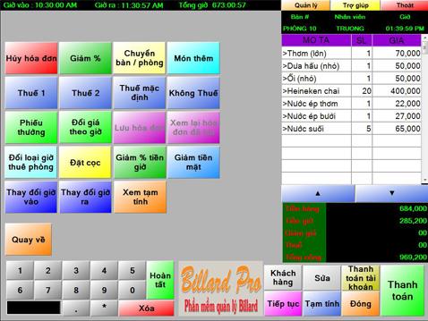 Phần mềm quản lý quán Bida